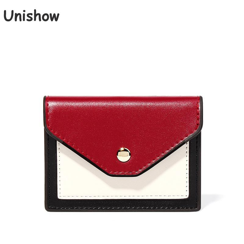 Unishow Mini Women Wallet Panelled Hasp Pu Leather Wallet Female Brand Designer Short Women Purse Small Girl Wallet Card Holder