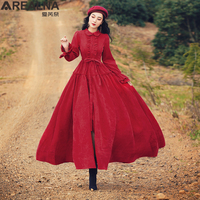 Vintage Red Corduroy A line Maxi Long Shirt Dress Fall Winter Women Ruffle Collar Retro Medieval Big Swing Dress Robe with Belt