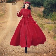 Vintage Red Corduroy A-line Maxi Long Shirt Dress Fall Winter Women Ruffle Collar Retro Medieval Big Swing Dress Robe with Belt