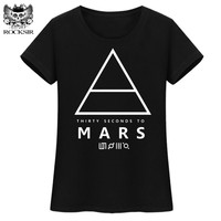 ROCKSIR THIRTY SECONDS TO MARS Printed Women T Shirts Letter Tops T Shirt Good Quality Tshirt