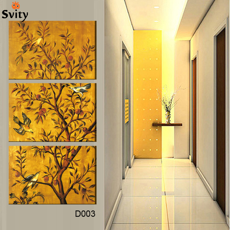 3 Pieces Free Shipping popular Hot Sell Modern Wall Painting flower&bird Home Wall Art Picture Paint on Canvas Prints D003