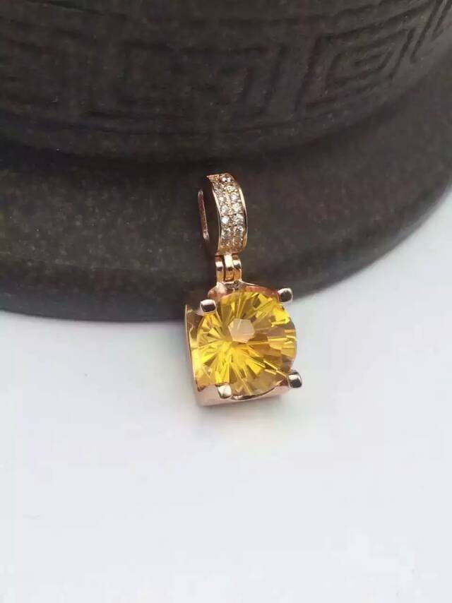 natural citrine pendant S925 silver Natural yellow crystal Pendant Necklace trendy Classic square Tau women girl party jewelry