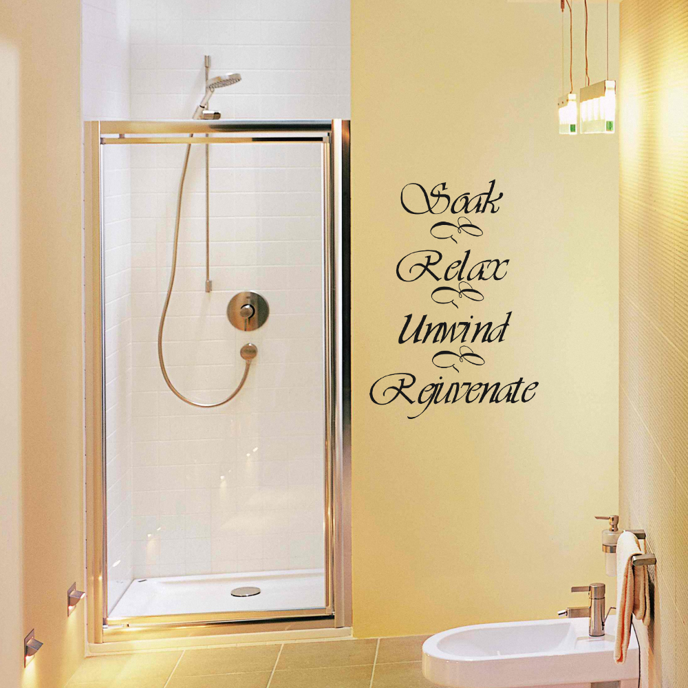Bathroom Wall Decal Quote Soak Relax Unwind Rejuvenate Bath Room ...
