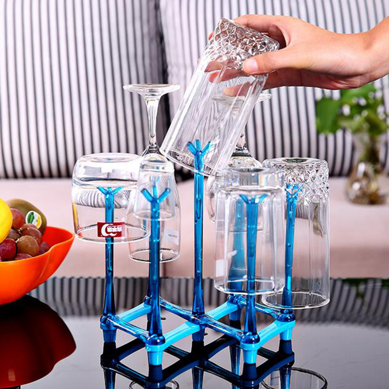 Drain Rack Drink Glass Bottle Storage Rack Cup  Holder Stand Durable Plastic Pull-out Drain Cup Holders Hot Sale