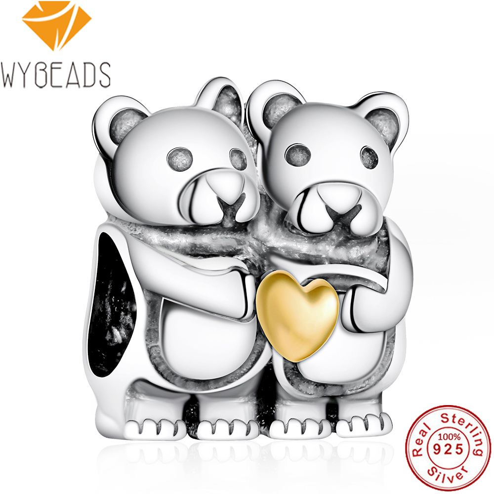 WYBEADS 925 Sterling Silver Charm Hearts Bear Hug Charms European Bead Fit Snake Chain Bracelet Bangle DIY Accessories Jewelry