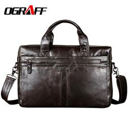 OGRAFF Echtem leder Männer Tasche Handtaschen Aktentaschen Schulter Taschen Laptop Tote tasche männer Umhängetasche Messenger Taschen Handtaschen designer