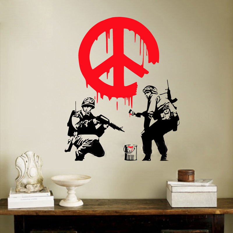 GY22 BANKSY CND Soldier Paint Warn Firemen Street Art Vinyl Wall Sticker Decal Graffiti Boy Personalise Home Decoration In Stickers From Garden