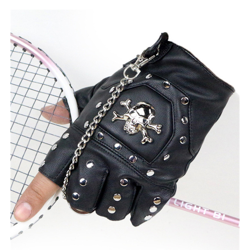 Skull Gloves Leather Gloves Motorcycle cross Racing Half Fingers Gloves Pirate skull rivet Steampunk cycling bicycle Gloves G307