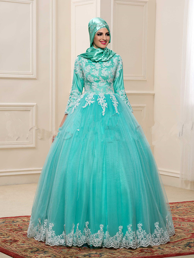 Wedding Turquoise Wedding Dresses online buy wholesale turquoise wedding gown from china charming ball muslim dresses 2017 high neck appliques pattern beading court train