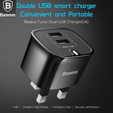 BASEUS Brand Intelligent UK 2.4A Dual USB AC Wall Charger Smart Adapter Plug For iPhone / Samsung Universal Cell Phone & Tablet(China)