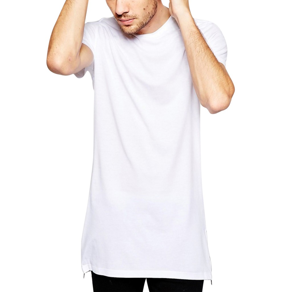 573d534f06 2019 White Casual Long Size Mens Hip hop Tops Street Wear extra long tee  shirts for men Longline t-shirt Short mens clothing