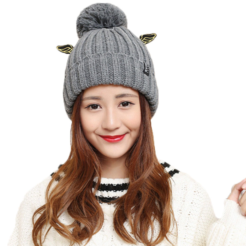 2017 Autumn Winter Women's Fashion Cap Skullies Women Warm Knitted Hat Bonnet Caps Thicked Small Devil Wings Female Hats skullies