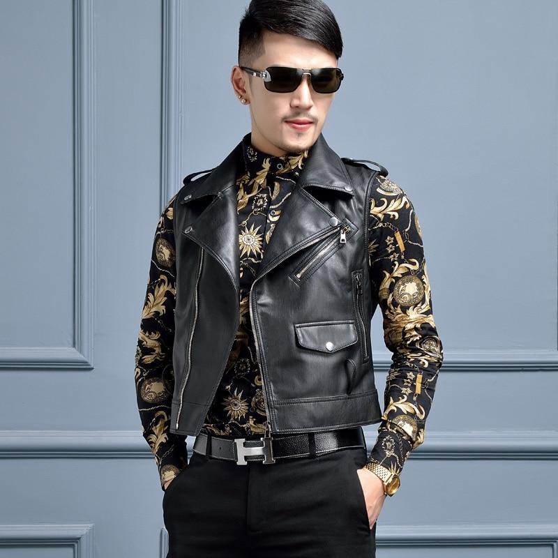2016 Masculine Nouveaux En Cuir Hommes Veste Chanteur Courte Costumes Conception Moto Noir Vêtements q00drcIw
