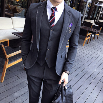 2019 NEW mens dress 3 piece set Asian size S M L XL XXL XXXL men suit jacket with pants and vest black khaki gray Blazer