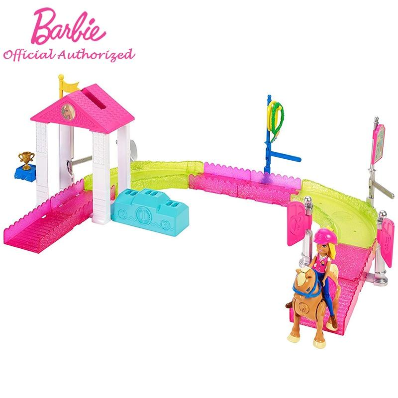 2019 Barbie marque nouveauté Barbie sur le pouce poney course Playset bureau de poste jouet avec cheval FHV66 faire semblant Brinquedos pour enfant