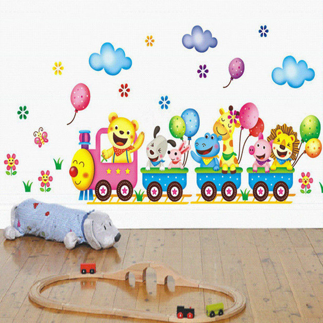 Wall Stickers For Kids Room Wallpaper Colorful Cute Kids Animals Wall Stickers Cartoon Train Decals Bedroom DIY Decoration