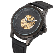 SHENHUA New Male Watch Skeleton Steampunk Mechanical Wristwatches for Men Leather Strap Relogio Masculino Automatic Clock