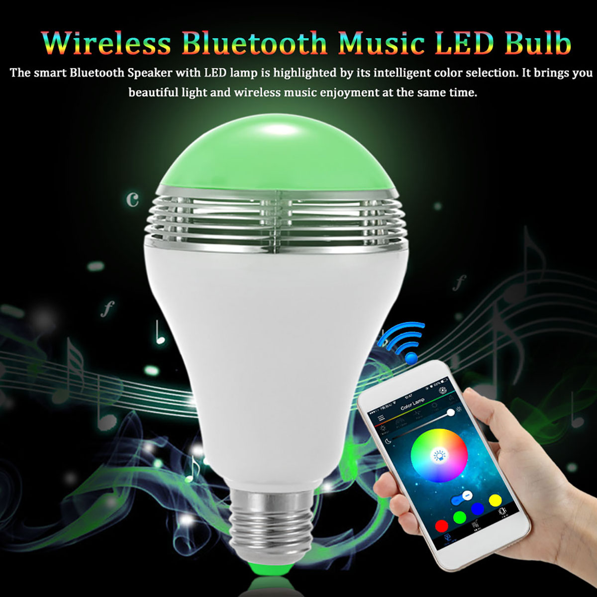 Jiawen LED Music Bulb Lamp Color Changing App Control mp3 player wireless bluetooth speaker(AC85-265) цена