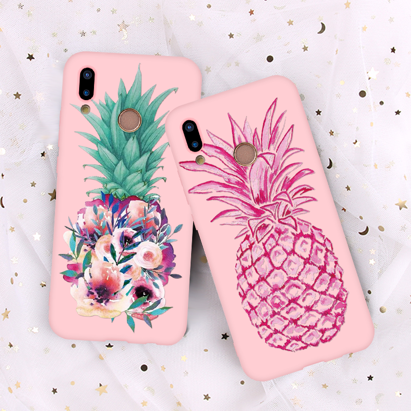 Pink Matte Soft TPU Pineapple Coque Case For Huawei Honor 8X 8 9 10 Lite View 20 Play 7A Pro 7C 7X Enjoy 8E Y6 Y9 2018 2019 Case