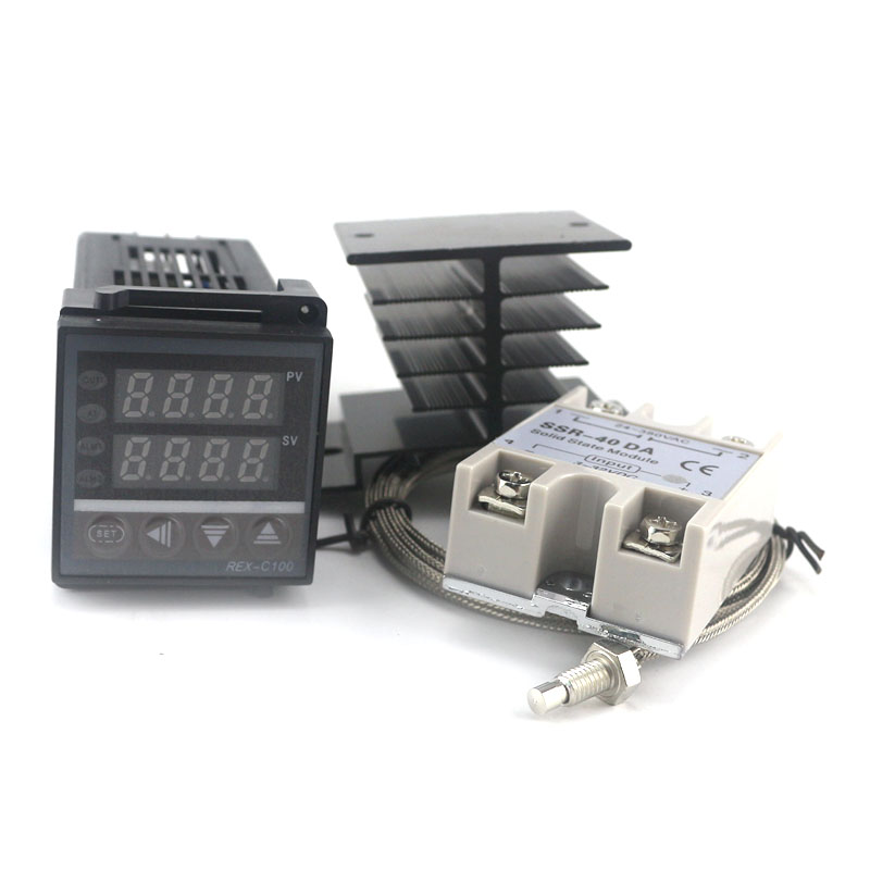 Double régulateur de température PID Kit SSR sortie REX-C100 Thermostat numérique 220 V AC avec SSR-40DA dissipateur de chaleur qualité K sonde