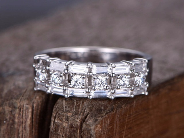 Baguette Half Eternity Ring 925 Sterling Silver Wedding Band White