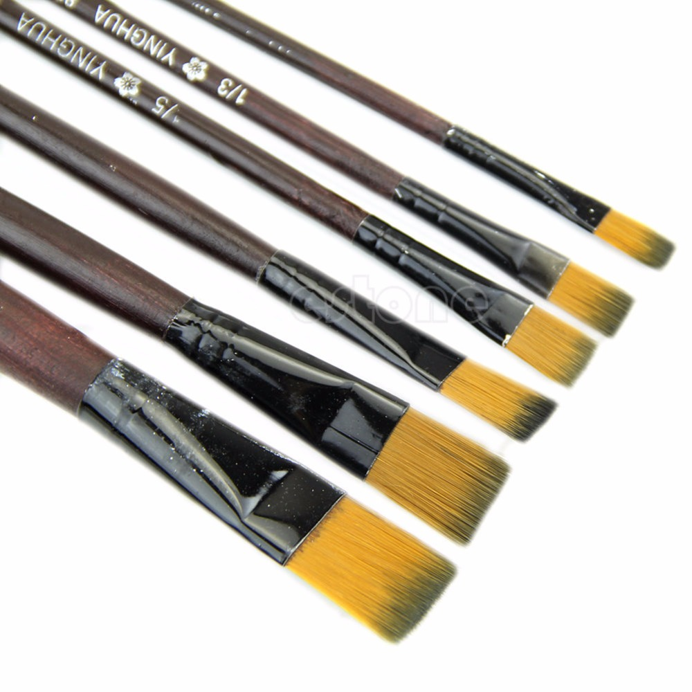 New Art Artist Supplies 6 Brown Nylon Paint Brushes Flat Head Absorbent Flexible Bristles Water Coloring/Acrylic Brushes