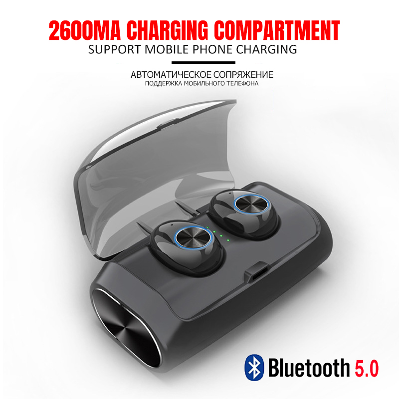Hevaral TWS Bluetooth V5 0 True Wireless Earbuds Twins Mini Earphones HIFI Stereo with 2600mAh Power Bank Dual MIC For iphone in Bluetooth Earphones Headphones from Consumer Electronics