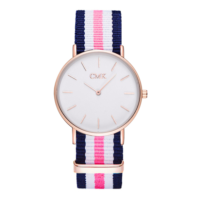 2018 Brand Clock Woven strap sports watches Metal button women's watch Casual Couple Various styles 18 color Quartz Wristwatches