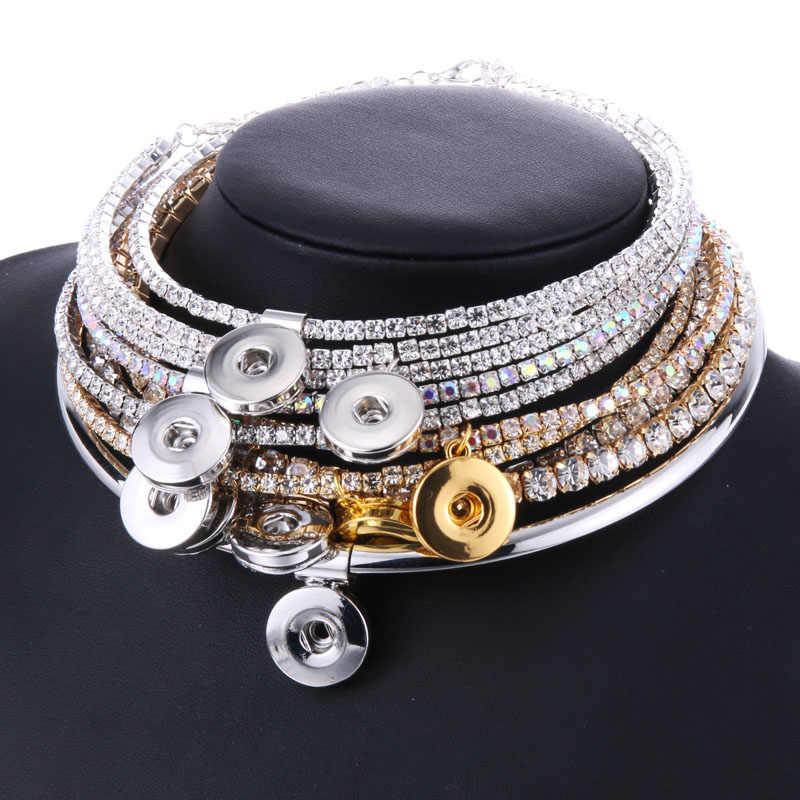 גמישות מתכוונן קריסטל קולר הצמד תכשיטי נשים של קלאסי מומנטי Fit 18mm הצמד כפתור שרשראות & תליוני DIY תכשיטים
