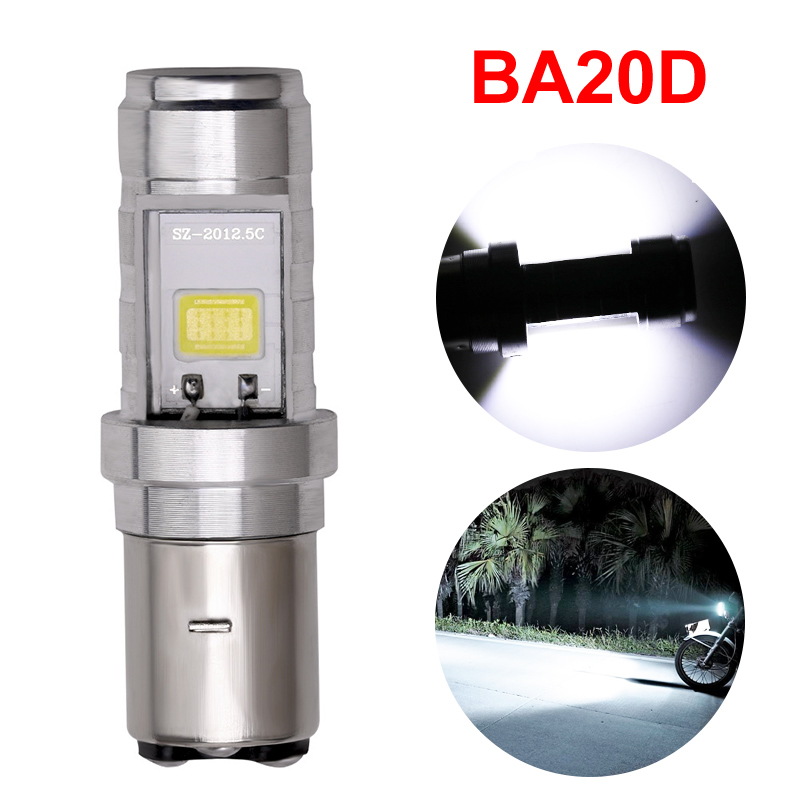 1x Super Bright H6 BA20D Cob Led Motorcycle Headlight Bulb BA20D H6 High Low Beam Motorbike Led Head Fog Lamp 6000K 2400LM