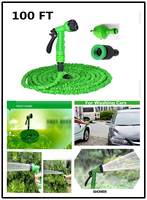 Free Shipping After Stretched Working Lenght 30M Plastic Connector 100FT Blue Garden Water Hose Spray Gun