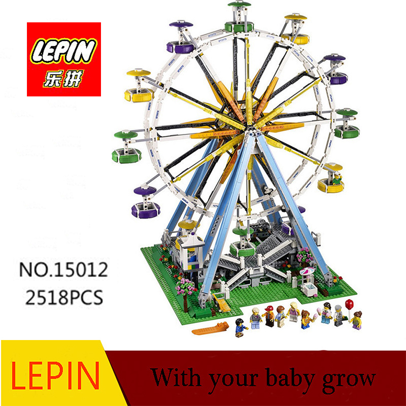 DHL LEPIN 15012 2518Pcs City Expert Ferris Wheel Model Building Kits Blocks Bricks Toys Compatible with legoed 10247 lepin 02012 city deepwater exploration vessel 60095 building blocks policeman toys children compatible with lego gift kid sets
