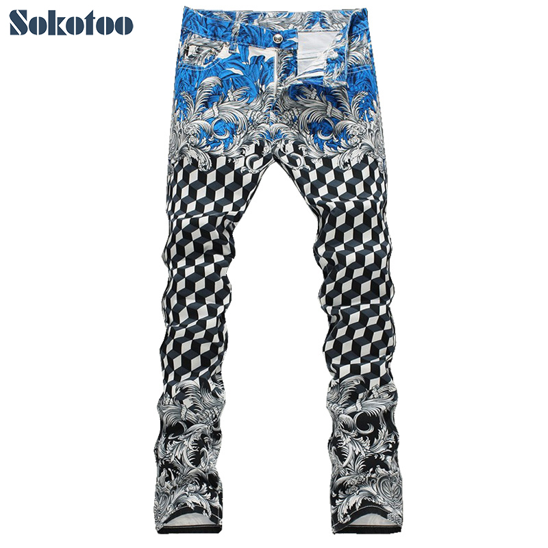 Sokotoo Men's new geometric print   jeans   Male fashion slim elastic thin denim pants Long trousers Free shipping