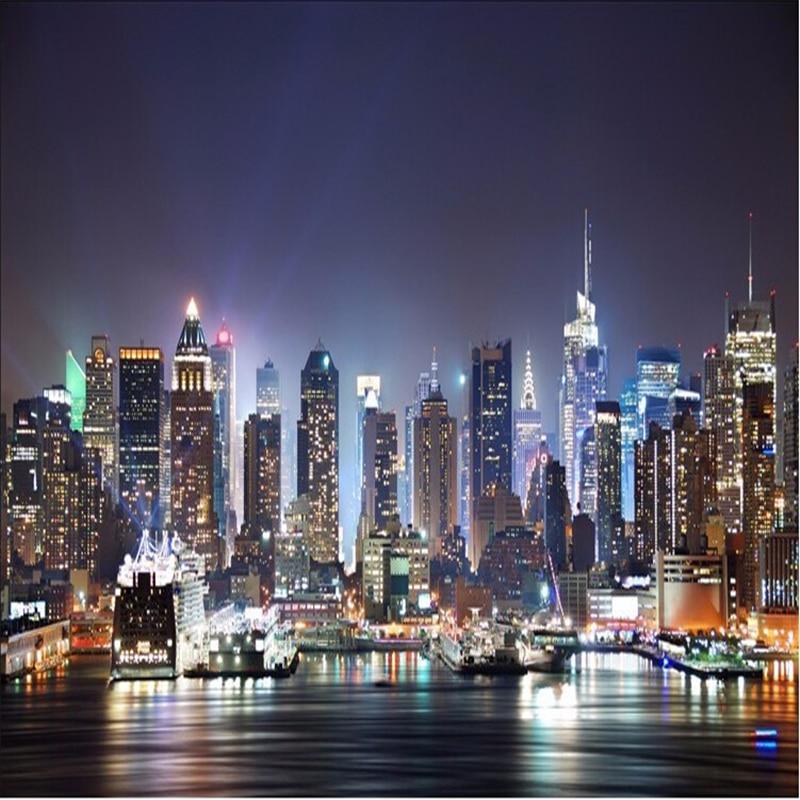 US $9.0 40% OFFBeibehang Wallpaper Kustom 3D New York City Pemandangan  Malam Besar Lukisan Dinding Wallpaper 3 D TV Duduk Kamar Mural Wallpaper