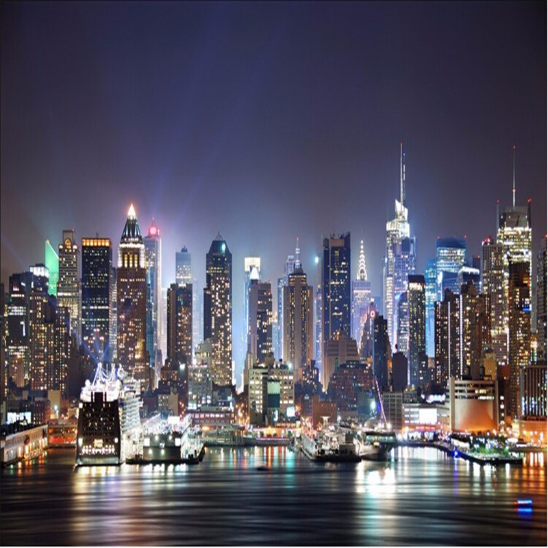 Beibehang Custom Wallpaper 3d New York City Night View Large Mural Wallpaper 3 D TV Sitting Room Murals Wallpaper For Walls 3 D