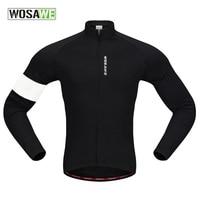 WOSAWE Men Sport Fleece Jacket Autumn Cycling Breathable Jerseys Full Zipper Bicycle Warm Coats Fitness Jersey