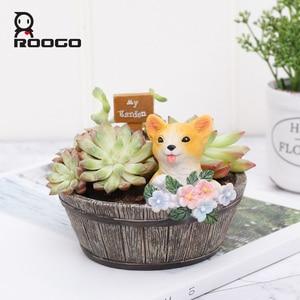 Image 1 - Roogo American Style FlowerPots Resin Flower Pots For Home Garden Decoration Wood Bonsai Pot Succulents Planters Orchids Cactus
