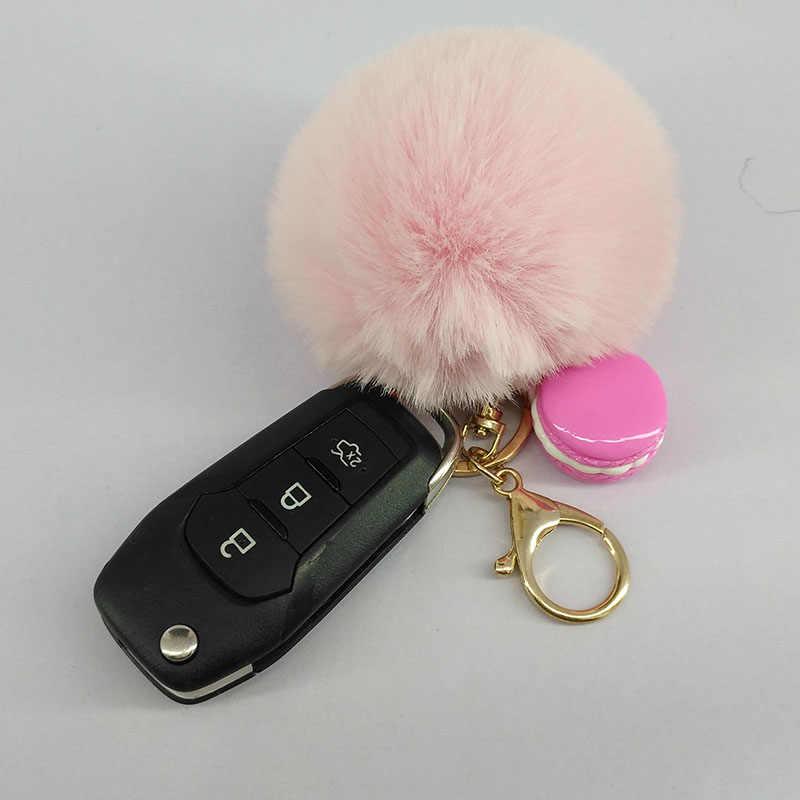 Casual pompom puffy bola chaveiro mini bolo macaron encantos chaveiro jóias pingente para carro chave decoração adorável presente chaveiro