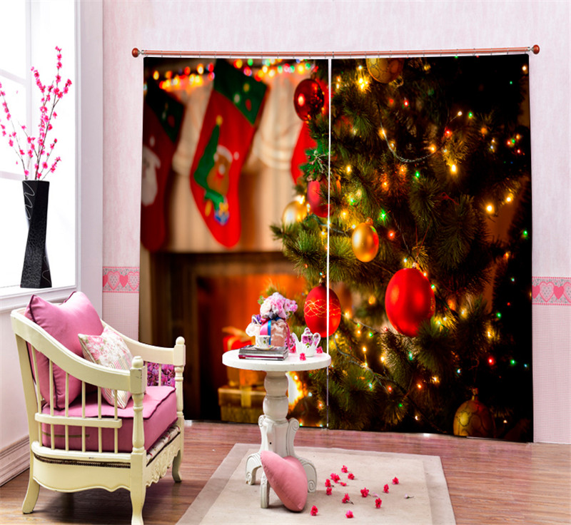 Modern Fashion Christmas lights tree Printing 3D Blackout Curtains For Bedding room Living room Hotel Drapes Cortinas Para SalaModern Fashion Christmas lights tree Printing 3D Blackout Curtains For Bedding room Living room Hotel Drapes Cortinas Para Sala