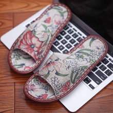Womens Summer Slippers Anti-Skip Floral Prints Linen Couples Indoor Anti-Smell Home Shoes for Men