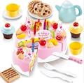 54 unids DIY Pastel de Cumpleaños De Corte de Cocina de Alimentos Pretend Play house Toy Niños Niños Bebé Juguete Clásico Juego de Ollas