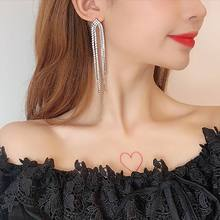 Korean New Fashion Rhinestone Tassel Long Drop Earrings For Women Personality Wedding Party Jewelry Large Earrings bfh fashion charm large circle tassel drop earrings for women girl wedding party bohemian long earring jewelry gift wholesale
