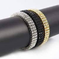 Trendy Bracelets Three Rows Shiny Rhinestone MIAMI CUBAN LINK Exaggerated Bangle Hip Hop Bling Men Women