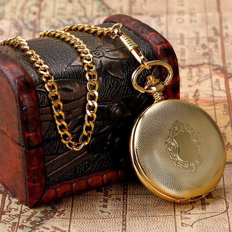 YISUYA Luxury Golden Shield Automatic Mechanical Skeleton Retro Roman Numberal Pocketwatch Pendant Chain Analog Self Wind Watch