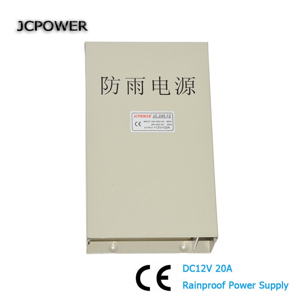 AC 220V to DC 12V 20A 240W Rainproof Power Supply Driver DC12V LED power supply outdoors application