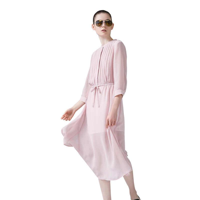 Toyouth Ранняя осень шифоновые плиссированные женские платья миди с эластичной талией розовое платье модное однотонное платье с рукавом три четверти Femme