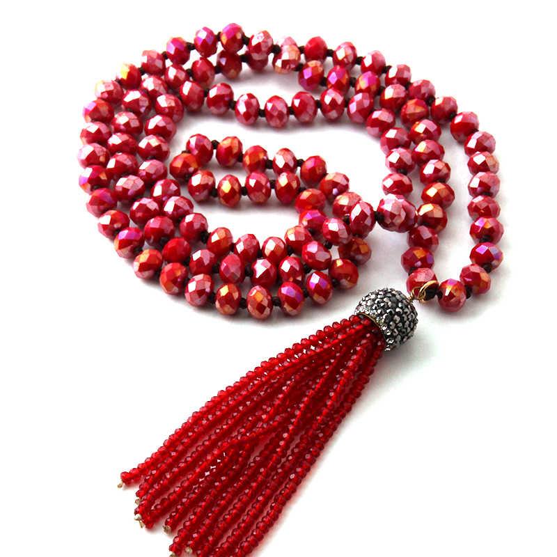 1836d2cdccca ... Moda Bohemia joyería Tribal de anudada de cristal borla collares para  mujeres collar ...