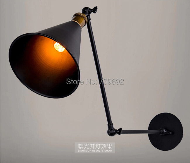 Art Deco Vintage Small Black Umbrella Lampshade Household Adjustable Wall  Lights Lamp Cafe Reading Room Lamp In Wall Lamps From Lights U0026 Lighting On  ...
