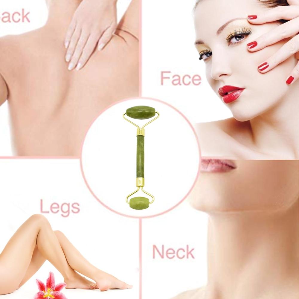 Jade Roller Set Stone Facial Roller Massager 100% Natural Jade Roller Crystal Slimming Thin Face Massager Kit With Gua Sha Tools 4