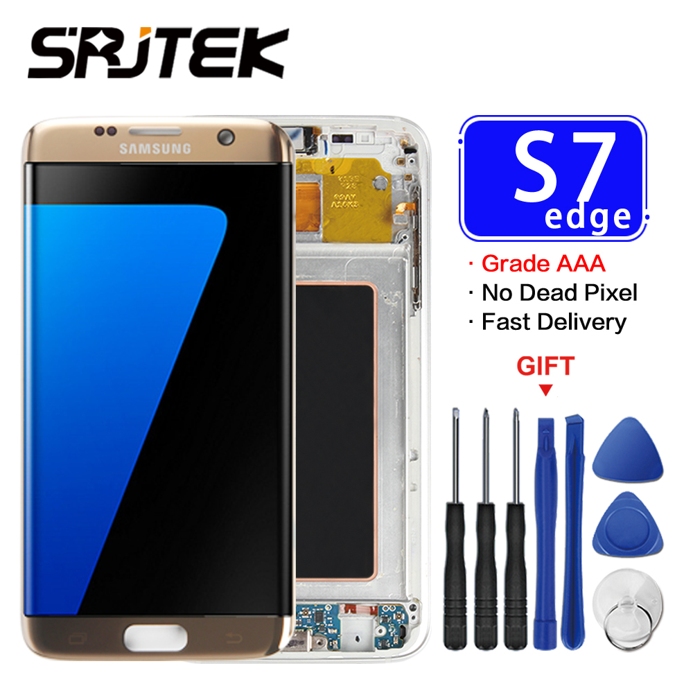 Warranty 5.5'' Super AMOLED Screen for SAMSUNG Galaxy S7 Edge LCD Display G935 G935F G935FD SM-G935 Touch Screen Digitizer